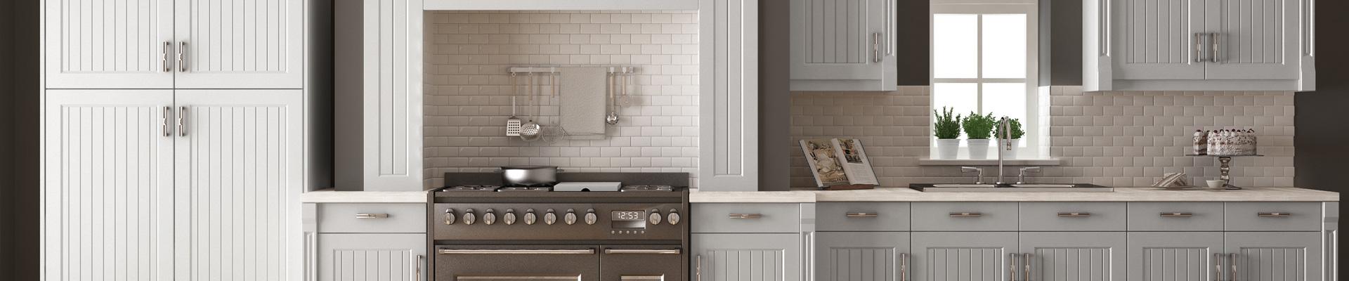 Class white, minimalist kitchen cabinets